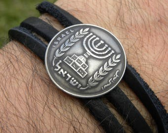 Cuff wrap bangle Jewish  Bracelet wristband Vintage Israel Menorah coin genuine  Buffalo Bison  leather nice gift Hanukkah Bar Bat mitzvah
