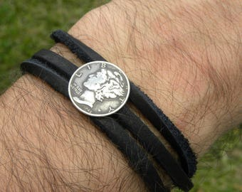 Cuff wrap bangle  Bracelet wristband Vintage silver Mercury dime coin various readable dates genuine  Buffalo Bison  leather nice gift