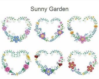 Sunny Garden Machine Embroidery Designs Pack Instant Download 4x4 5x5 6x6 hoop 10 designs APE2520