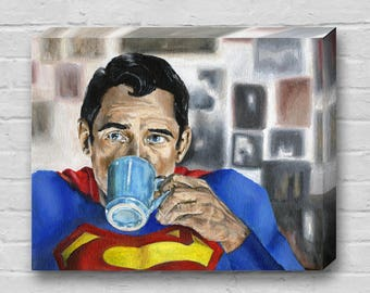 Superman Needs Coffee - Superhero Superman Canvas Art Print