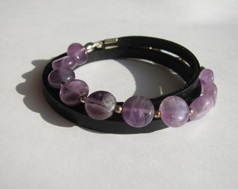 Natural Amethyst Bracelet/Natural Leather