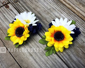 Sunflower Corsage, Navy Sunflower Corsage, Daisy and Sunflower Corsage