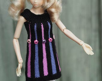 Barbie Clothes, Momoko mini dress, Barbie collectors, Knitting, fitting 11.5 in doll dress, black purple, Halloween gift, handmade dress