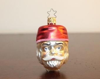 Santa Head Blown Glass Ornament – West Germany