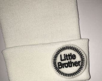 2 Ply Newborn Hospital Hat! Little Brother! White Newborn Hospital Hats! Newborn Beanies. Baby Beanie! Perfect Gift.