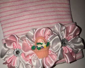 Newborn Hospital Hat! Pink and White Striped hospital hat topped off with Easter Basket and Bunny on bed of flowers! Spring Baby Great Gift!