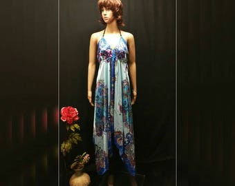 Women Scarf Dress - Blue Floral Handkerchief Dress, Boho Asymmetrical Satin Scarf Dress, Bandana Dress, Cruise Beach Summer Festival Dress