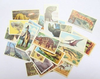 Vintage dinosaru collector cards: pack of 20 Brooke Bond Tea collector cards Paper ephemera for craft, scrapbooks, journaling, collage OT608