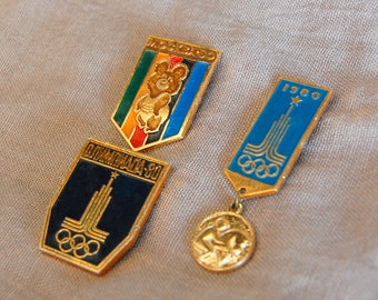 Vintage Set of 3 Enamel Pins OLYMPIC GAMES 1980, Moscow 1980 Badges Olympic Pins Moscow Games Symbol Collectible Pin Soviet era 80s USSR Pin