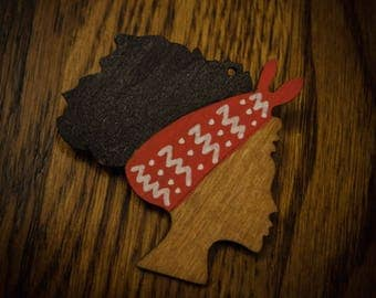 Afro w/ Red Scarf Wood Pin