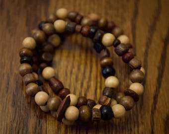 3 Stack of Mixed Up Brown Wood Bead Bracelets