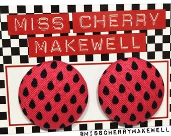 Pink Watermelon Polka Dot Pips Fabric Button Rockabilly 1950's Pin Up Vintage Inspired Stud Earrings By Miss Cherry Makewell