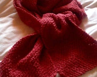 Brick red hand knitted scarf