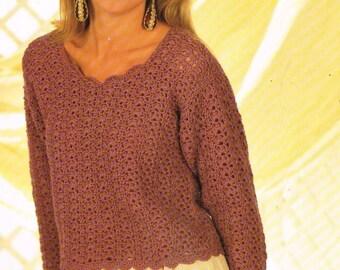 4638P Ladies  jumper  crochet vintage pattern PDF instant download