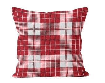 Red Christmas Pillow Cover, Farmhouse Red and White Tartan Plaid Throw Pillow Cover, French Country Rustic Christmas Cushion Cover Decor _M