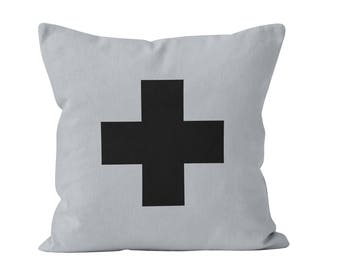 Scandinavian Decor Gift for Her, Large Swiss Cross Throw Pillow Cover Ready to Ship 16x16 minimalist pillow cover in grey and black _RTS