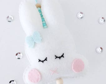 Hanger, Bunny, Pink, Sleepy Eyes, 16 cm long (length), 6 cm wide (wide), decoration, kids room