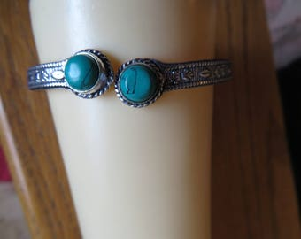 Antiqued Turquoise Gemstone .925 Sterling Silver Cuff Bracelet, 7 IN Around Inside Adjustable, Weight 11.9 Grams