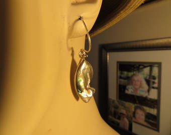 Handcrafted Genuine Alpaca Mexico Abalone Sterling Silver Dangle 925 On New Flower 925 Ear Wire Earrings, Wt. 8.3 Grams