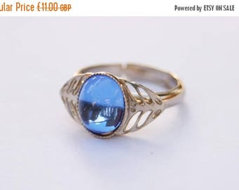 Hypnotic Sapphire Blue Swarovski Crystal Ring // Silver Tone Ring Shank // Adjustable Size // 1970's Vintage // Made in England
