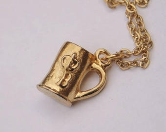 Beer Mug Charm Necklace // Unusual Vintage Pendant w/ Chain // Gold Plated // Made in the UK // Vintage Gift Idea
