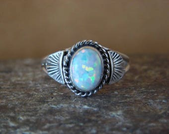 Navajo Artisan handmade sterling silver and white Opal Ring in multiple sizes