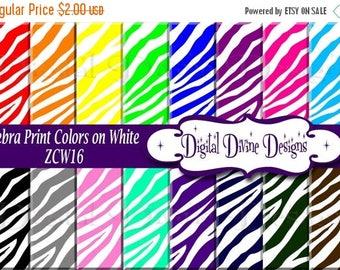 BTS Zebra Print, Colors on White Digital Scrapbooking  Paper Set - Instant Download