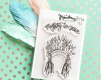 Mighty To Save Mini Stamps Christian Scrapbooking Stamping Bible Journaling Head Dress Warrior Feathers Worship Growing Meadows Tai Bender