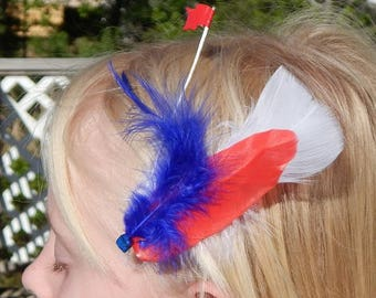 Lively Fourth of July Feather Hair Clip
