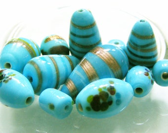 Vintage Turquoise Colored Lampwork Bead Mix, 12 Pcs. Destash Beads