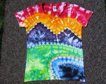 womens tie dye, large, mountain art, art shirt, nature art,