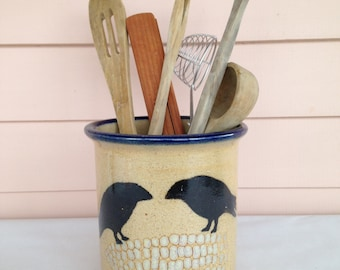 Monroe Salt Works Utensil Crock - Storage Jar - Two Crows on Corn