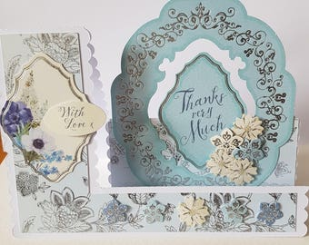 Handmade Decorative Edged Side Stepper Flowers Thank You Card