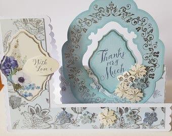 Handmade Decorative Edged Side Stepper Flowers Thank You Card