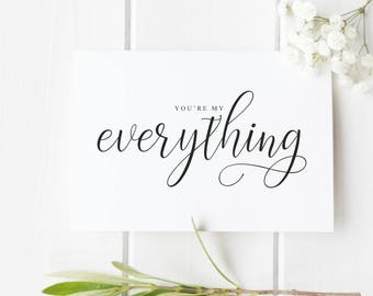 You're My Everything Love Card for Boyfriend Husband Wife Girlfriend Just Because Card Valentine Card Romantic Anniversary Card