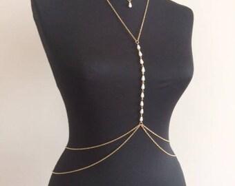 Gold Pearl Body Chain , Bikini Jewelry,Body Chain , Body Jewelry, Belly Chain,  Body Necklace mk2017-2