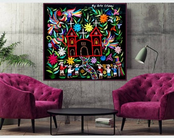 "VIVA MI PUEBLO - Ready to ship - Beautiful Otomi Cloth - Fiesta Wall decor Otomi Black 40"" W 39"" H. Hand embroidery - Frame sold separately"