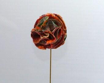 Multicoloured Fabric Flower Lapel Pin