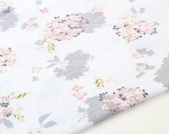 Floral Foaming Printing Cotton Knit Fabric, Slub Texture Fabric by Yard
