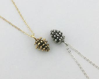Pine Cone Necklace, Gold Pine Cone necklace, Silver Pine ConeNecklace, Nature Jewelry, Nature Necklace,  Woodland Jewelry, Pendant