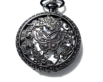 Supplied with 2.5 cm openwork Butterfly design pocket watch battery