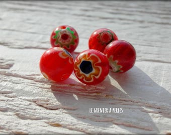 10 mm x 5 red MILLEFIORI beads
