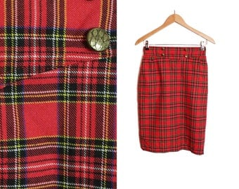 Red Plaid skirt, Midi skirt, High waisted skirt, Tartan skirt, Vintage 90s skirt, Checkered skirt, Red midi skirt, High waist / Small Medium