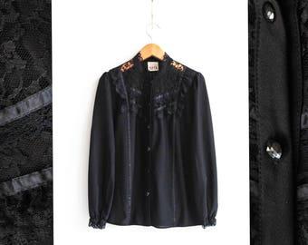 Vintage Black lace blouse, Victorian Button up blouse, Black blouse,Vintage blouse, Long sleeve blouse, Wide sleeve Womens blouse / Medium