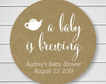 A Baby is Brewing Tea or Coffee Baby Shower Stickers, Baby Shower Labels (#245-KR-WT)