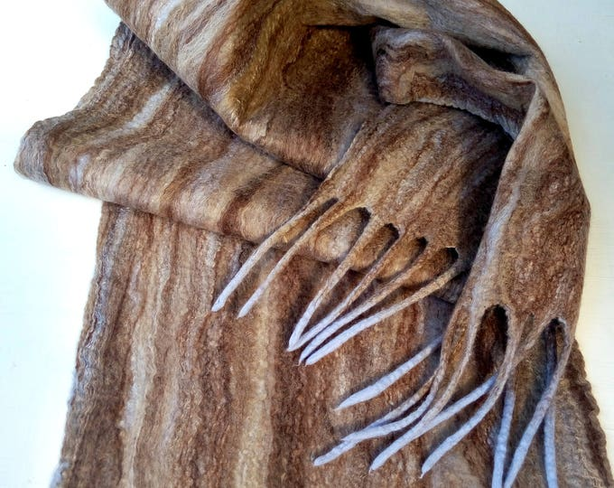 Men wool scarf Women scarf Winter scarves Brown felted scarf New Year Eve Soft wool scarf Boyfriend gift Wife to husband gifts ideas