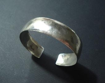 Silver Hammered Band Bracelet Adjustable Statement Cuff Simplistic Contemporary Band Modern Minimal Silver Cuff Bracelet