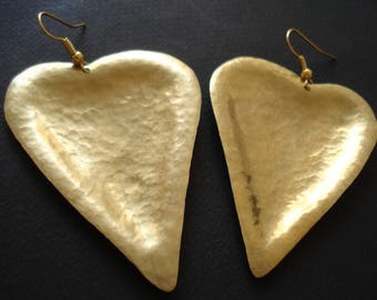 Hammered Bronze Heart Earrings Contemporary Metalwork  Statement  Large Earrings Long Modern Light Earrings Unique Gold Big Heart Earrings