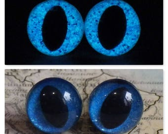 9mm Glow In The Dark Cat Eyes, Blue Glitter Safety Eyes With Blue Glow, 1 Pair Of Glow In The Dark Safety Eyes