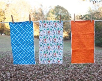 Set of 3 Burp Cloths, Baby Shower Gift, Handmade Baby Gift, Baby Burp Cloths, Boy Burp Cloths,  Modern Burp Cloths, Blue and Orange